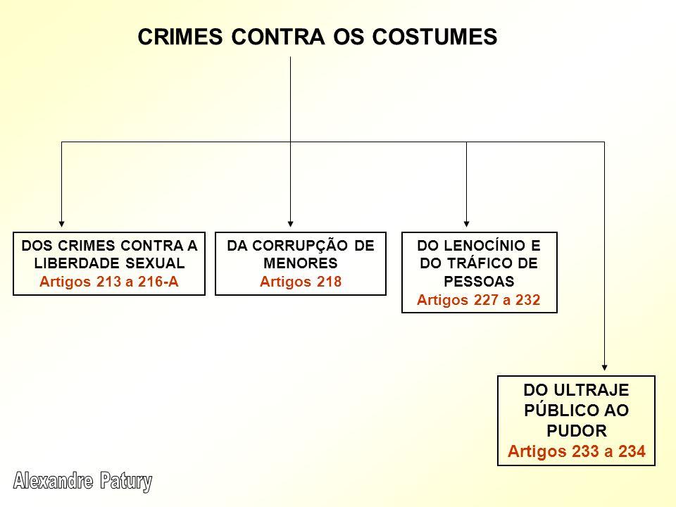 CRIMES CONTRA OS COSTUMES DOS CRIMES CONTRA A LIBERDADE SEXUAL Artigos 213 a 216-A DO LENOCÍNIO E DO TRÁFICO DE PESSOAS Artigos 227 a 232 DA CORRUPÇÃO