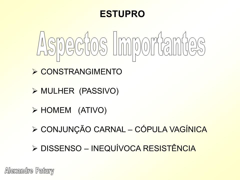 CONSTRANGIMENTO MULHER (PASSIVO) HOMEM (ATIVO) CONJUNÇÃO CARNAL – CÓPULA VAGÍNICA DISSENSO – INEQUÍVOCA RESISTÊNCIA
