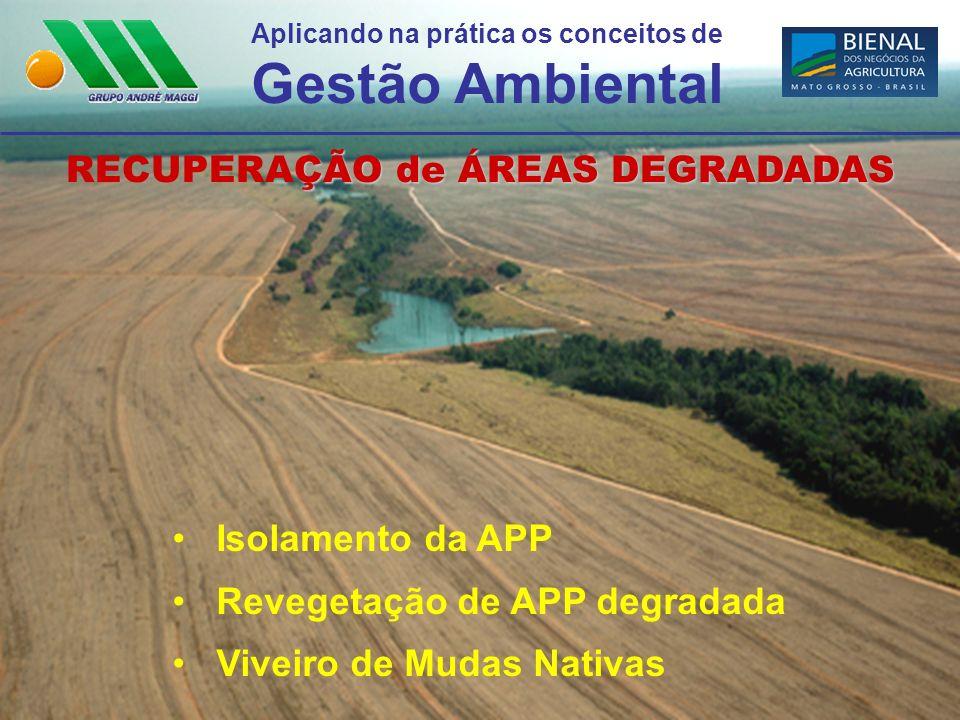 Aplicando na prática os conceitos de Gestão Ambiental ÇÃO de ÁREAS DEGRADADAS RECUPERAÇÃO de ÁREAS DEGRADADAS Isolamento da APP Revegetação de APP deg
