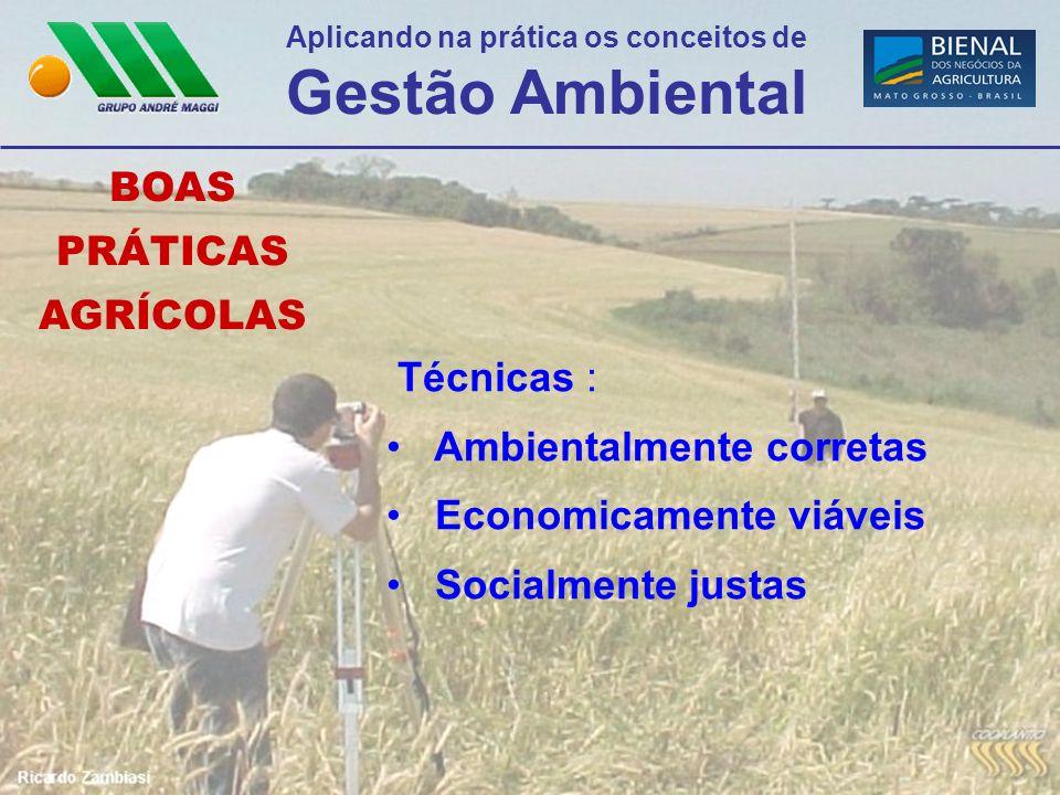 Aplicando na prática os conceitos de Gestão Ambiental BOAS PRÁTICAS AGRÍCOLAS Técnicas : Ambientalmente corretas Economicamente viáveis Socialmente ju