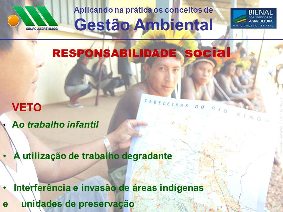 Aplicando na prática os conceitos de Gestão Ambiental RESPONSABILIDADE social VETO Ao trabalho infantil A utilização de trabalho degradante Interferên