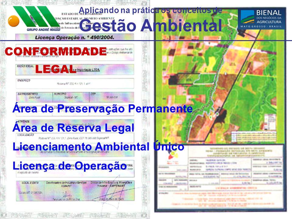 Aplicando na prática os conceitos de Gestão Ambiental CONFORMIDADELEGAL Área de Preservação Permanente Área de Reserva Legal Licenciamento Ambiental Ú