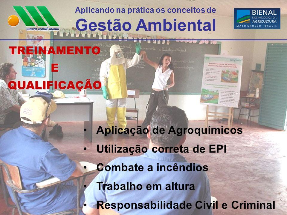 Aplicando na prática os conceitos de Gestão Ambiental TREINAMENTO E QUALIFICAÇÃO Aplicação de Agroquímicos Utilização correta de EPI Combate a incêndi