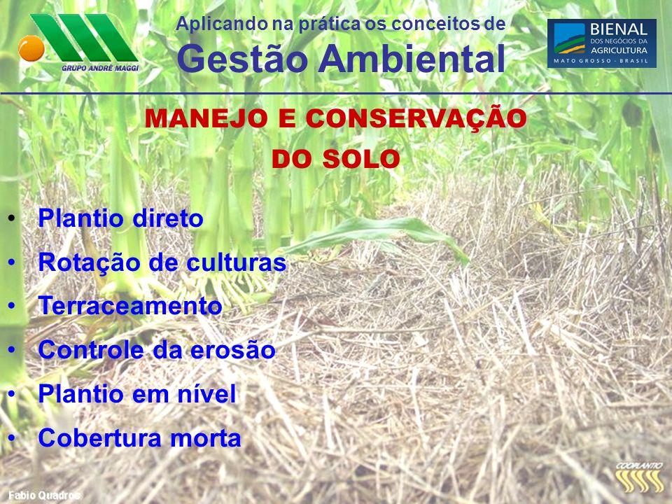 Aplicando na prática os conceitos de Gestão Ambiental ÇÃO MANEJO E CONSERVAÇÃO DO SOLO Plantio direto Rotação de culturas Terraceamento Controle da er