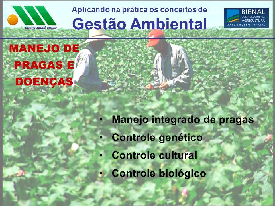 Aplicando na prática os conceitos de Gestão Ambiental MANEJO DE PRAGAS E DOENÇAS Manejo integrado de pragas Controle genético Controle cultural Contro