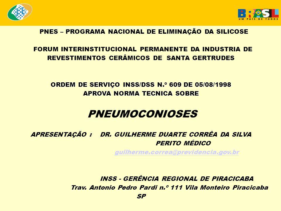 ORDEM DE SERVIÇO INSS/DSS Nº 609, DE 5 DE AGOSTO DE 1998 Assunto: Aprova Norma Técnica sobre Pneumoconioses.