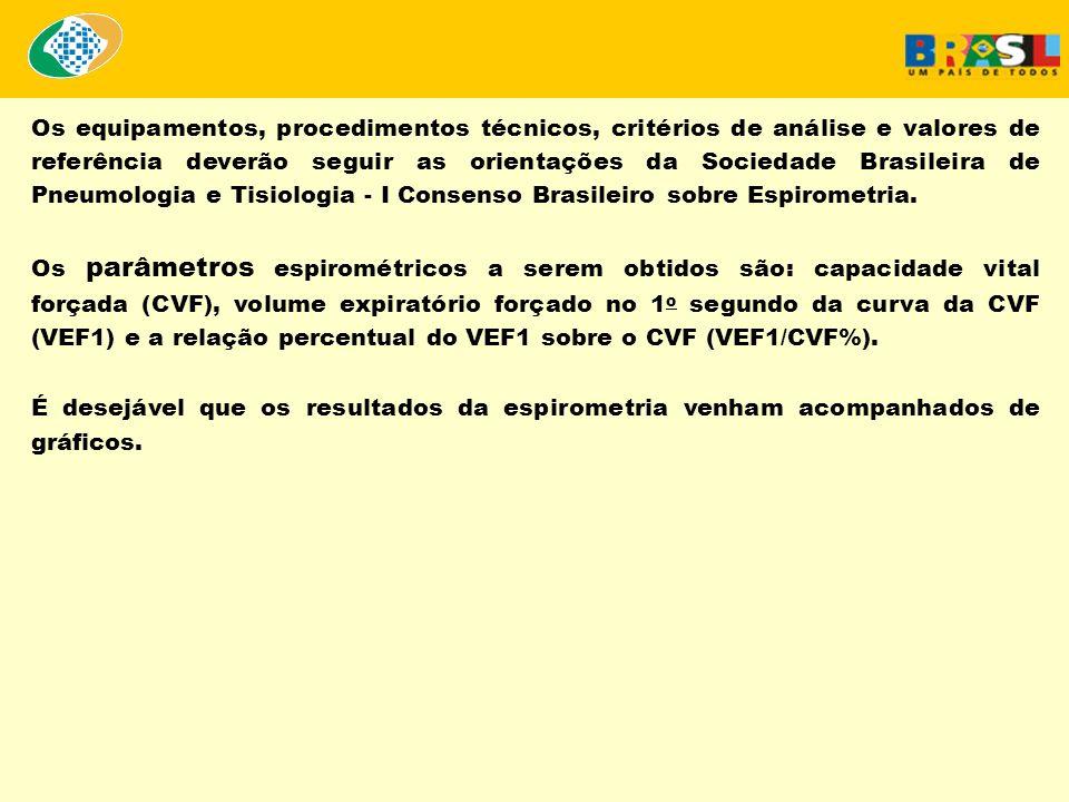 Os equipamentos, procedimentos técnicos, critérios de análise e valores de referência deverão seguir as orientações da Sociedade Brasileira de Pneumol