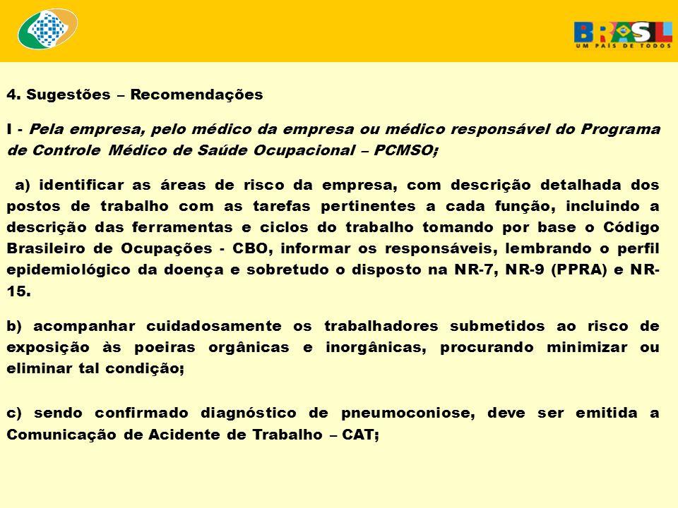 4. Sugestões – Recomendações I - Pela empresa, pelo médico da empresa ou médico responsável do Programa de Controle Médico de Saúde Ocupacional – PCMS