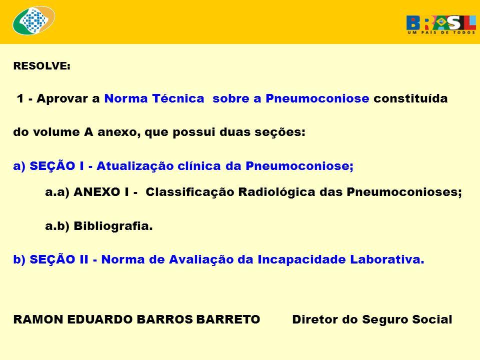 RESUMO DA CLASSIFICAÇÃO RADIOLÓGICA NAS PNEUMOCONIOSES 1.