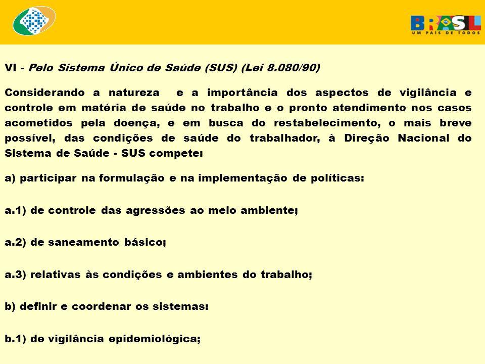 VI - Pelo Sistema Único de Saúde (SUS) (Lei 8.080/90) Considerando a natureza e a importância dos aspectos de vigilância e controle em matéria de saúd
