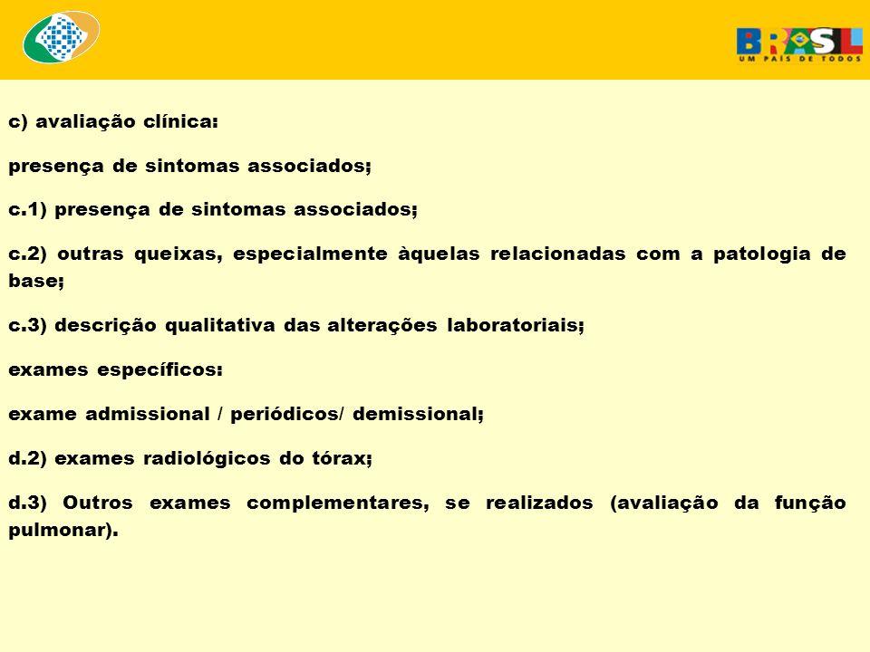 c) avaliação clínica: presença de sintomas associados; c.1) presença de sintomas associados; c.2) outras queixas, especialmente àquelas relacionadas c