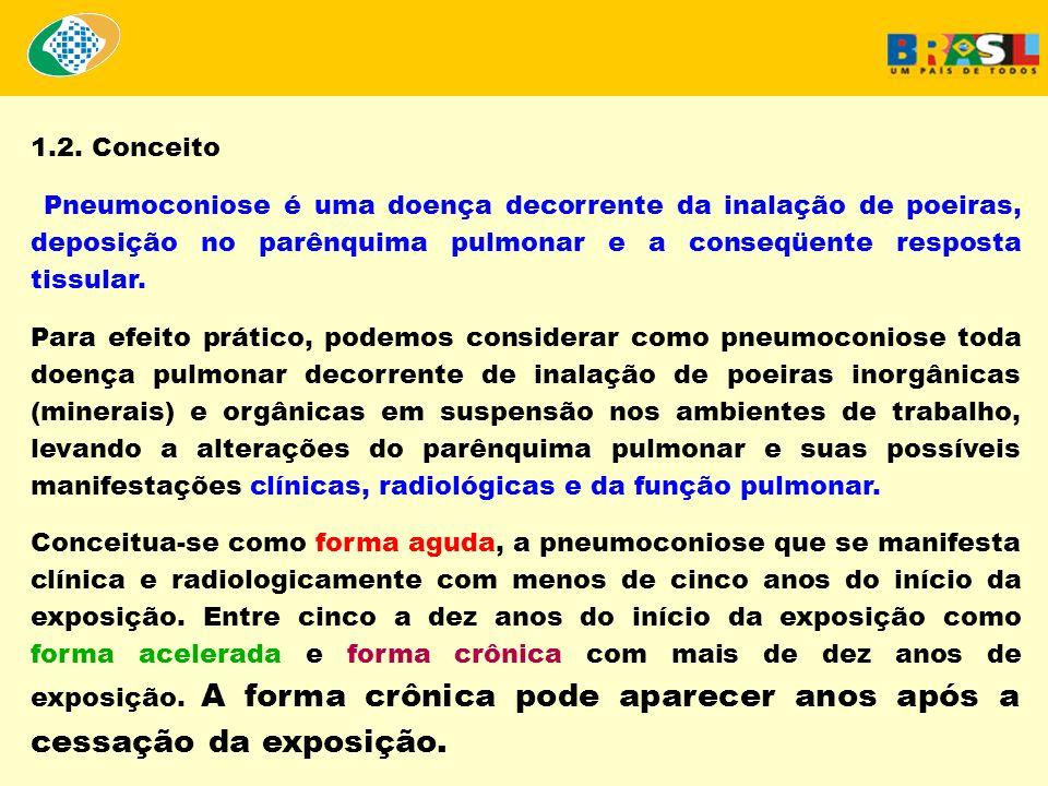 1.2. Conceito Pneumoconiose é uma doença decorrente da inalação de poeiras, deposição no parênquima pulmonar e a conseqüente resposta tissular. Para e