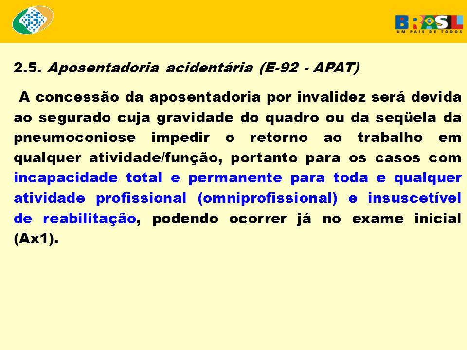 2.5. Aposentadoria acidentária (E-92 - APAT) A concessão da aposentadoria por invalidez será devida ao segurado cuja gravidade do quadro ou da seqüela