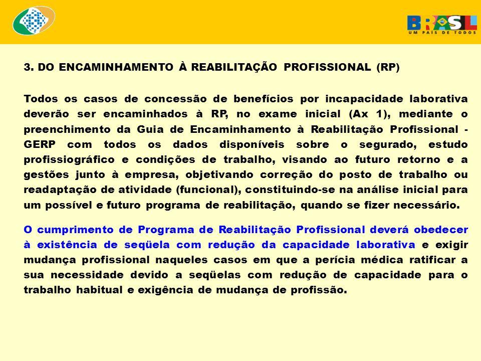 3. DO ENCAMINHAMENTO À REABILITAÇÃO PROFISSIONAL (RP) Todos os casos de concessão de benefícios por incapacidade laborativa deverão ser encaminhados à