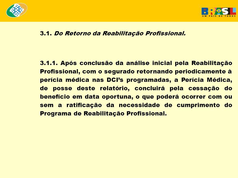 3.1. Do Retorno da Reabilitação Profissional. 3.1.1. Após conclusão da análise inicial pela Reabilitação Profissional, com o segurado retornando perio