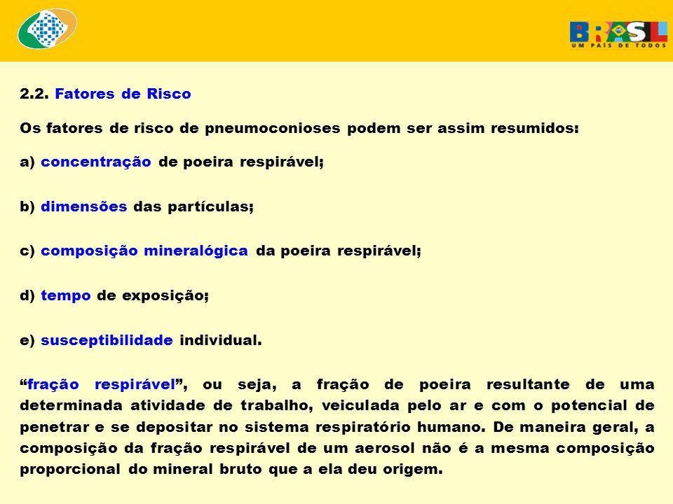 2.2. Fatores de Risco Os fatores de risco de pneumoconioses podem ser assim resumidos: a) concentração de poeira respirável; b) dimensões das partícul