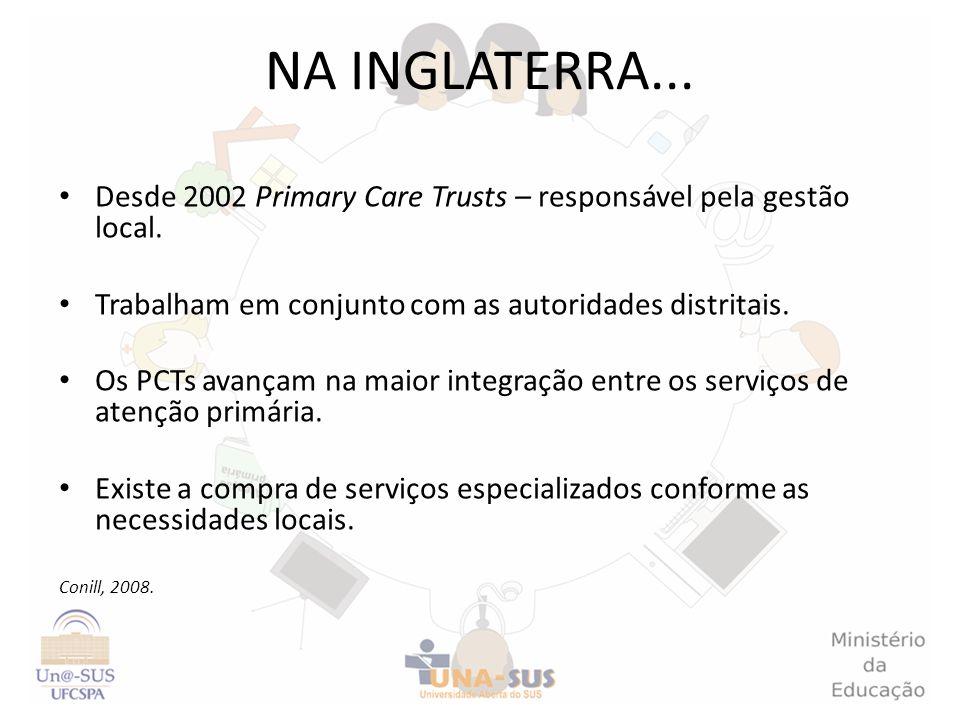 Desde 2002 Primary Care Trusts – responsável pela gestão local. Trabalham em conjunto com as autoridades distritais. Os PCTs avançam na maior integraç