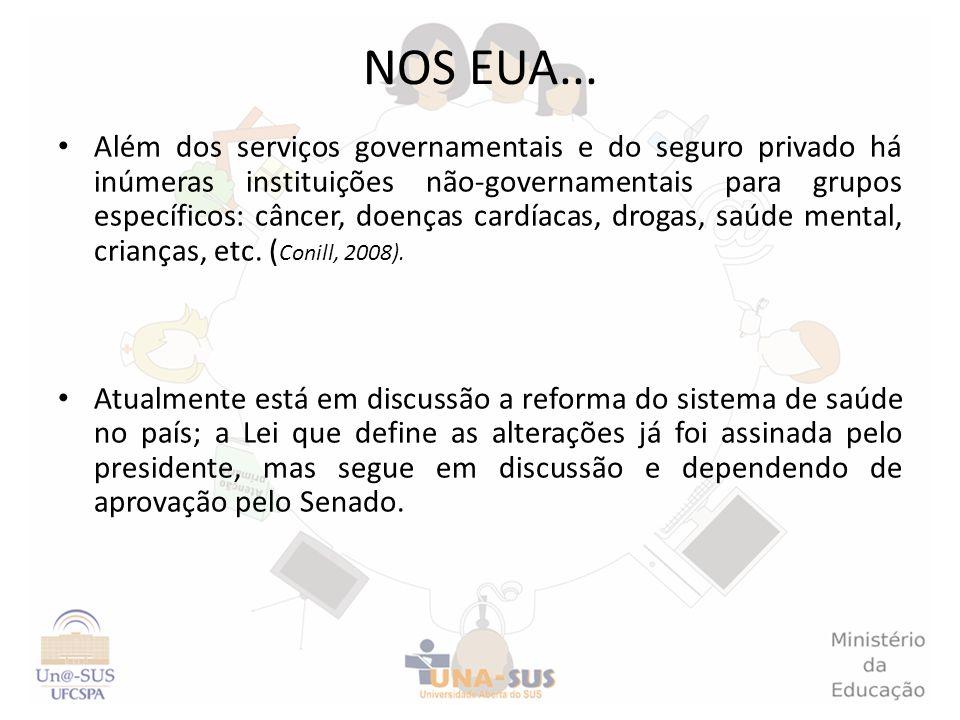 Além dos serviços governamentais e do seguro privado há inúmeras instituições não-governamentais para grupos específicos: câncer, doenças cardíacas, d