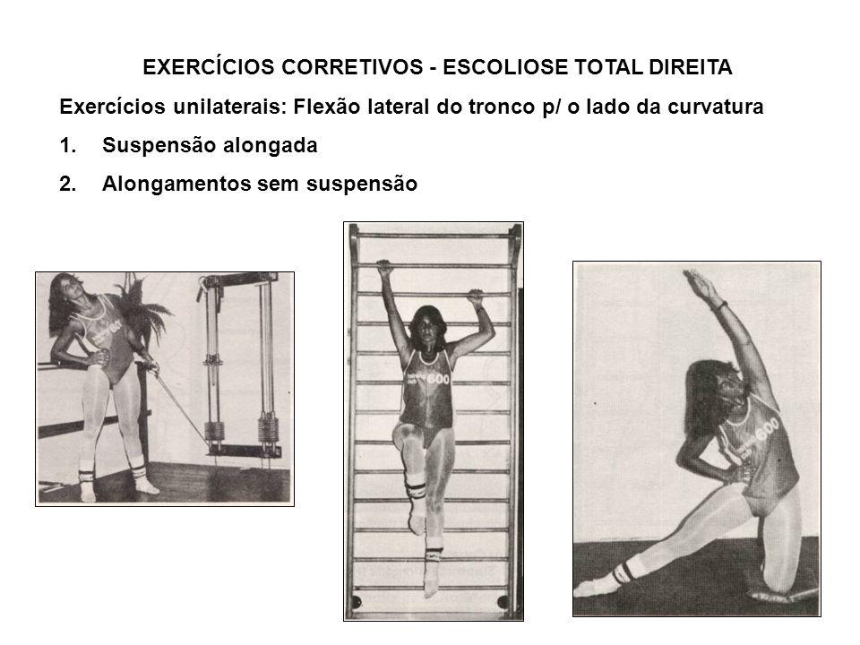 EXERCÍCIOS CORRETIVOS - ESCOLIOSE TOTAL DIREITA Exercícios unilaterais: Flexão lateral do tronco p/ o lado da curvatura 1.Suspensão alongada 2.Alongam