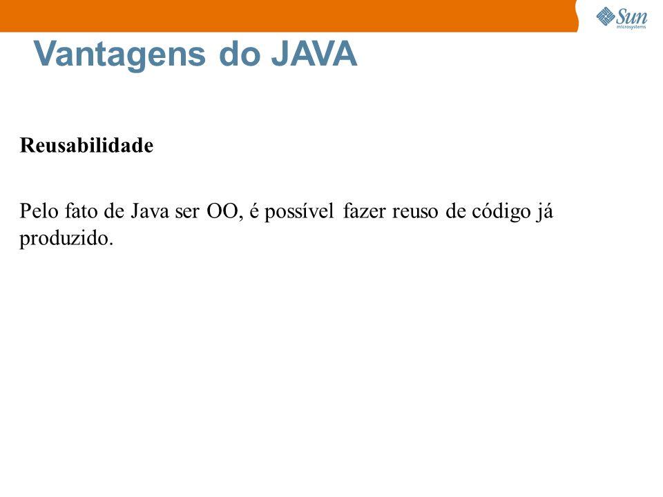 Vantagens do JAVA Reusabilidade Pelo fato de Java ser OO, é possível fazer reuso de código já produzido.