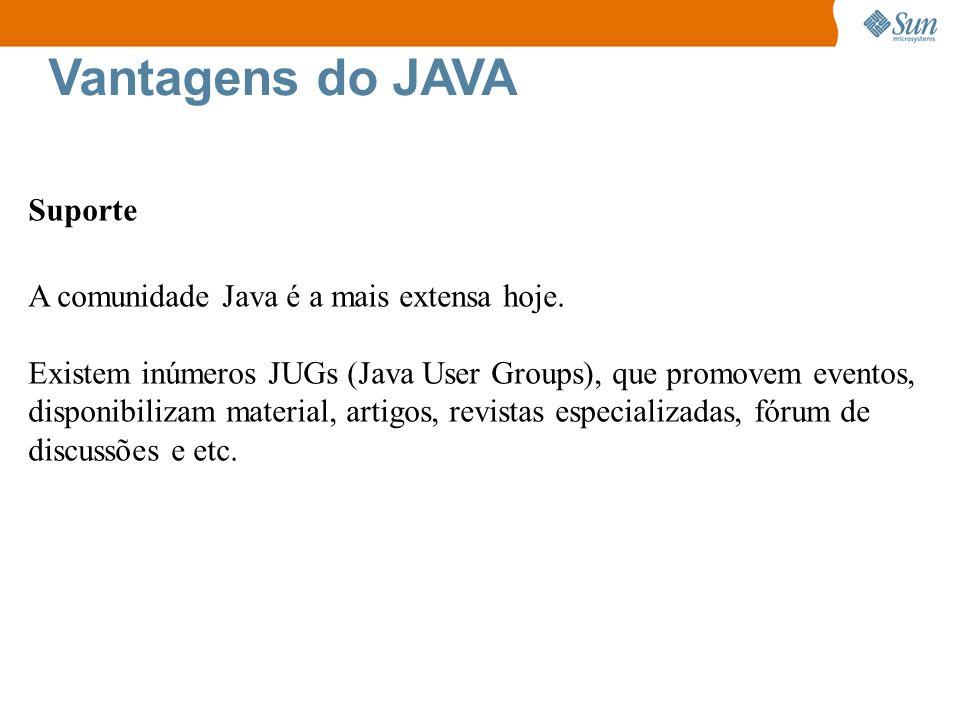 Vantagens do JAVA Suporte A comunidade Java é a mais extensa hoje. Existem inúmeros JUGs (Java User Groups), que promovem eventos, disponibilizam mate