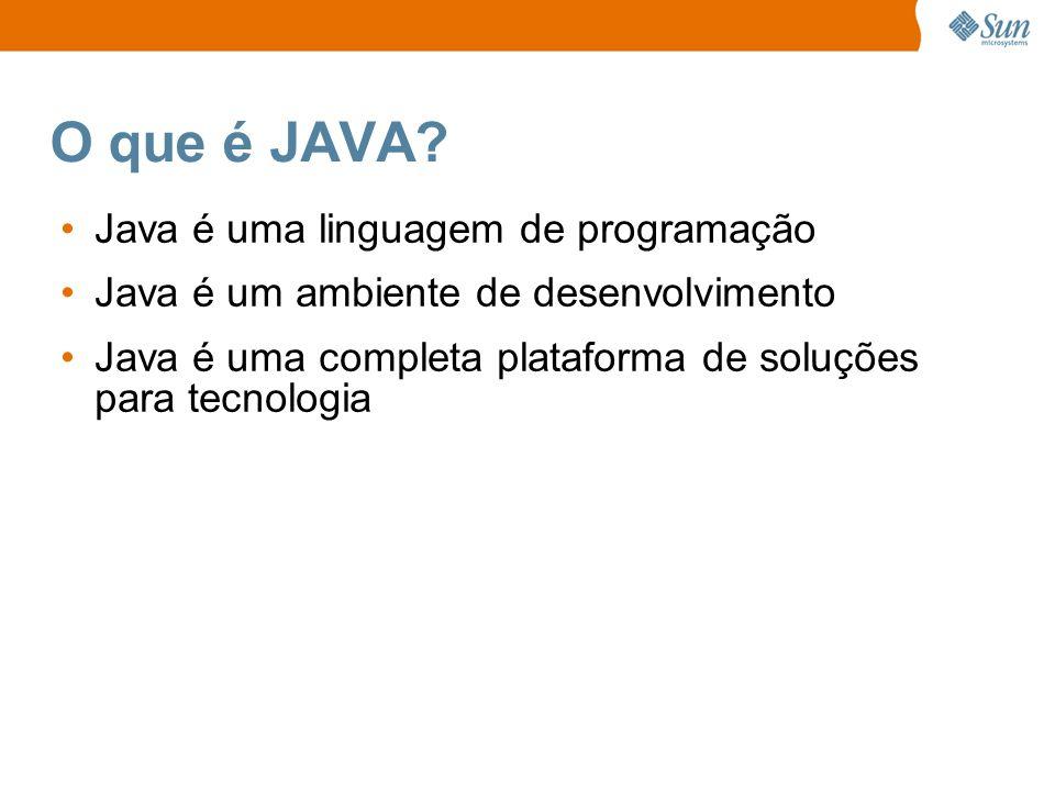 O que é JAVA? Java é uma linguagem de programação Java é um ambiente de desenvolvimento Java é uma completa plataforma de soluções para tecnologia