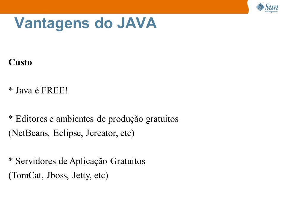 Vantagens do JAVA Custo * Java é FREE! * Editores e ambientes de produção gratuitos (NetBeans, Eclipse, Jcreator, etc) * Servidores de Aplicação Gratu