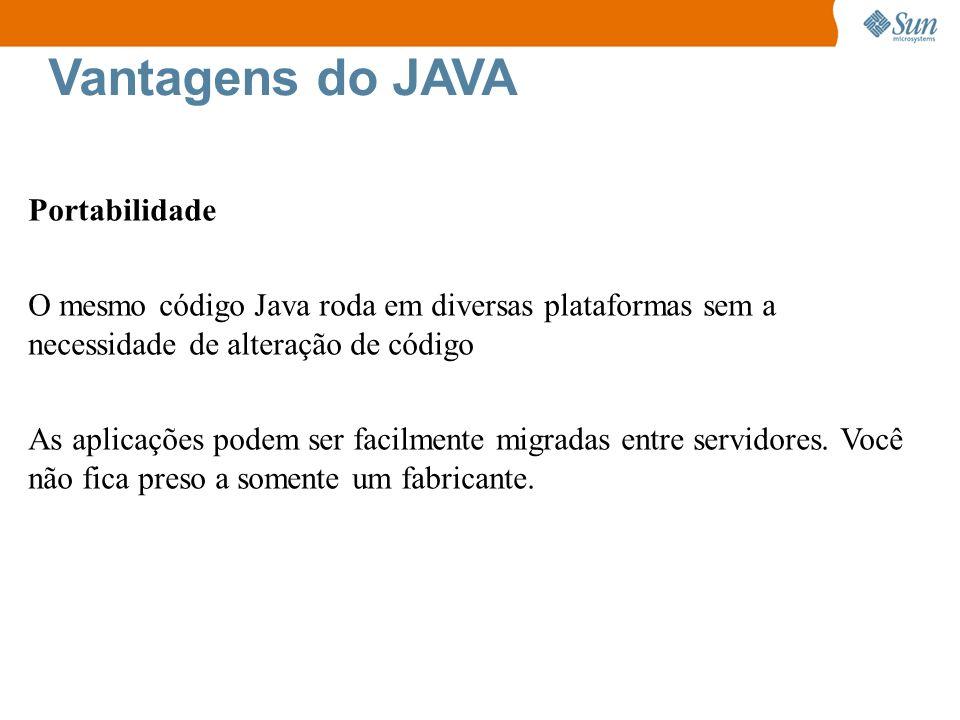 Vantagens do JAVA Portabilidade O mesmo código Java roda em diversas plataformas sem a necessidade de alteração de código As aplicações podem ser faci