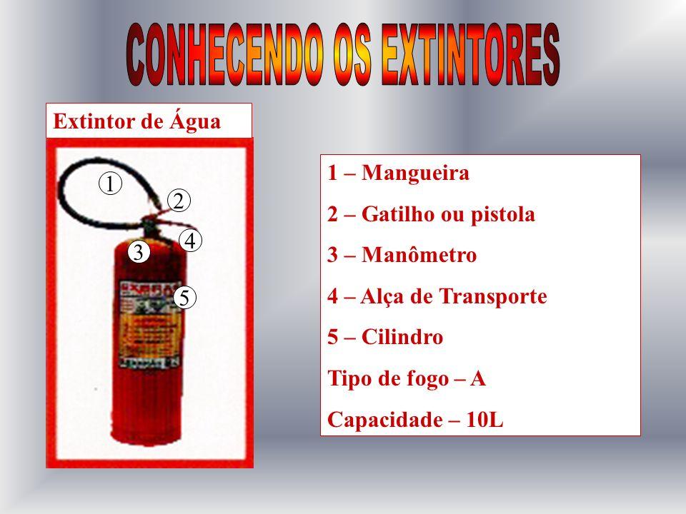 1 – Gatilho ou pistola 2 – Alça de transporte 3 – Mangueira 4 – Cinta ou braçadeira 5 – Empunhadura 6 – Difusor 7 - Cilindro Tipo de fogo – B e C Capacidade – 2 á 6 e 10Kg Extintor de CO2 1 2 3 4 5 6 7