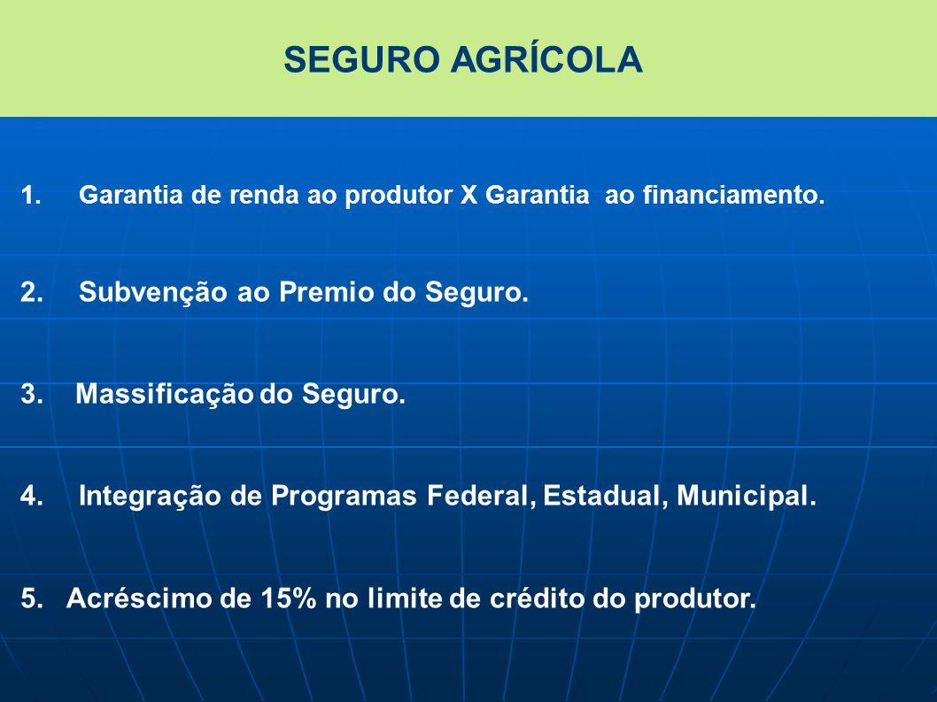 1.Garantia de renda ao produtor X Garantia ao financiamento. 2.Subvenção ao Premio do Seguro. 3. Massificação do Seguro. 4.Integração de Programas Fed