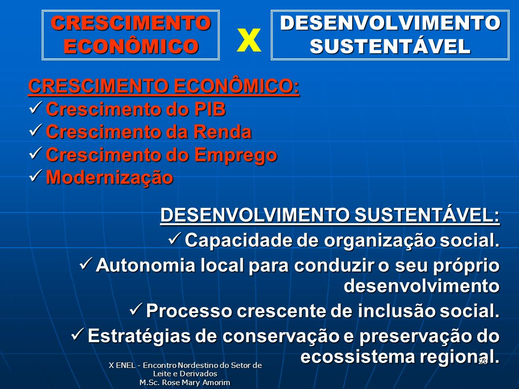 DESENVOLVIMENTO SUSTENTÁVEL CRESCIMENTO ECONÔMICO: Crescimento do PIB Crescimento do PIB Crescimento da Renda Crescimento da Renda Crescimento do Empr