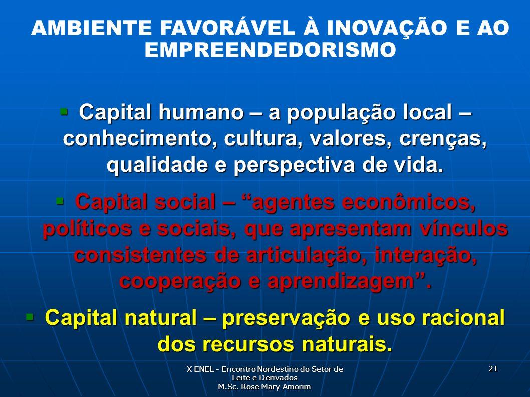 Capital humano – a população local – conhecimento, cultura, valores, crenças, qualidade e perspectiva de vida. Capital humano – a população local – co