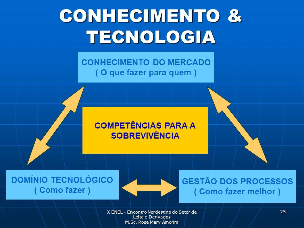 CONHECIMENTO & TECNOLOGIA CONHECIMENTO DO MERCADO ( O que fazer para quem ) DOMÍNIO TECNOLÓGICO ( Como fazer ) GESTÃO DOS PROCESSOS ( Como fazer melho