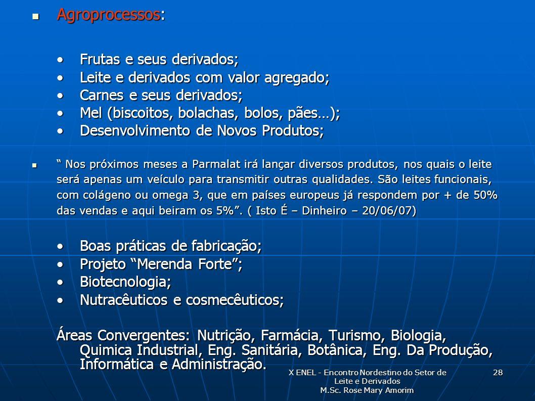 Agroprocessos: Agroprocessos: Frutas e seus derivados;Frutas e seus derivados; Leite e derivados com valor agregado;Leite e derivados com valor agrega