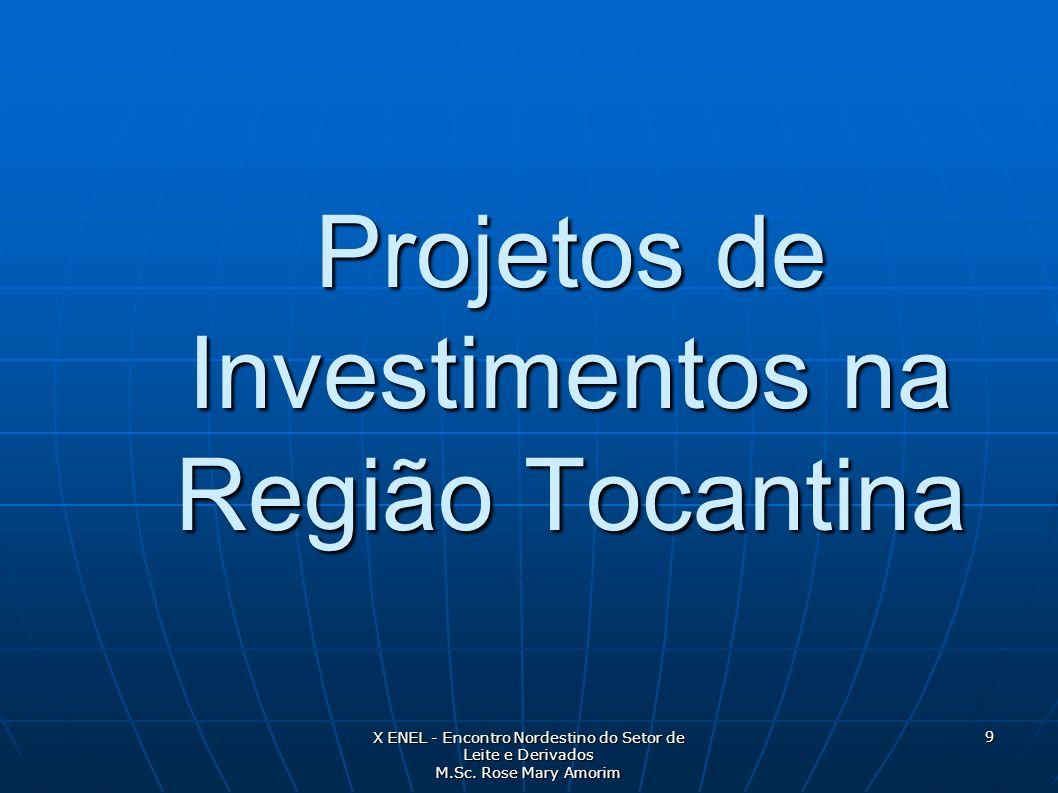Projetos de Investimentos na Região Tocantina X ENEL - Encontro Nordestino do Setor de Leite e Derivados M.Sc. Rose Mary Amorim 9