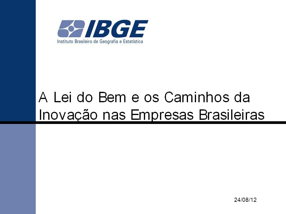 Lei do Bem e Estatísticas de Inovação e Apoio do Governo Objetivo: Exposição geral dos incentivos à inovação tecnológica da Lei 11.196/05 (Lei do Bem) e apresentação das estatísticas da Pesquisa Inovação Tecnológica do IBGE (PINTEC).