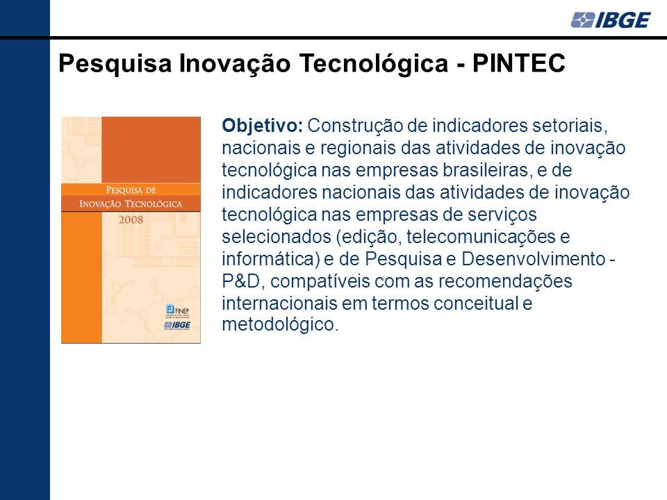 Pesquisa Inovação Tecnológica - PINTEC Objetivo: Construção de indicadores setoriais, nacionais e regionais das atividades de inovação tecnológica nas