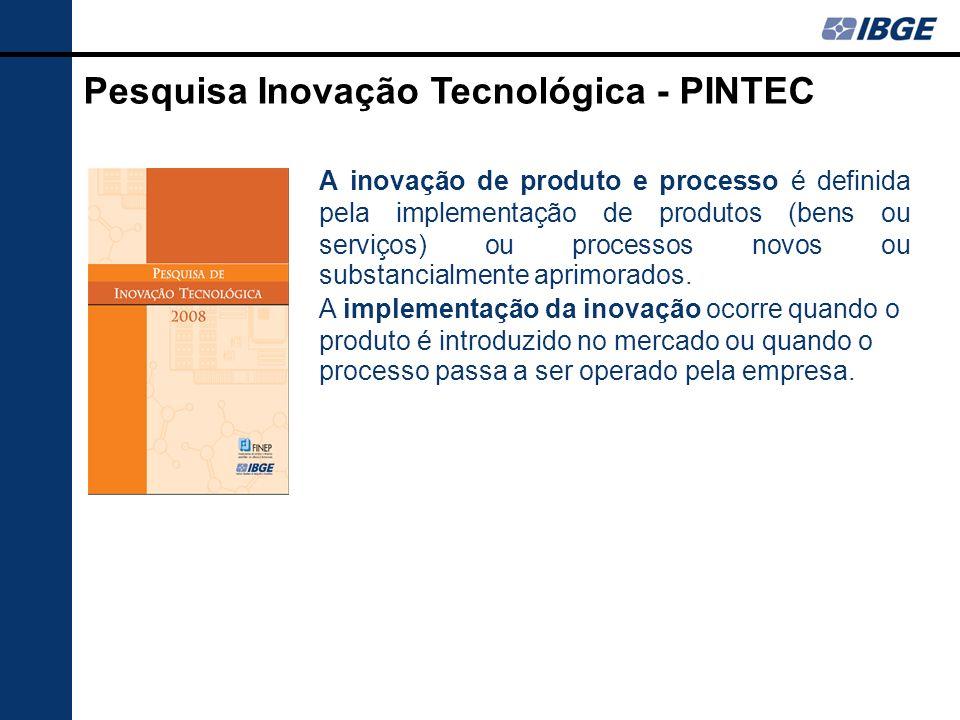 A PINTEC considera como investimentos em atividades inovativas dispêndios referentes à: P&D interna; Aquisição de P&D externa; Aquisição de máquinas e equipamentos; Treinamento; Aquisição de conhecimentos externos; Projetos industriais e outras preparações técnicas; e Introdução de inovações tecnológicas no mercado.