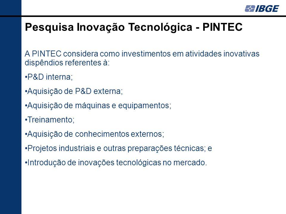 A PINTEC considera como investimentos em atividades inovativas dispêndios referentes à: P&D interna; Aquisição de P&D externa; Aquisição de máquinas e