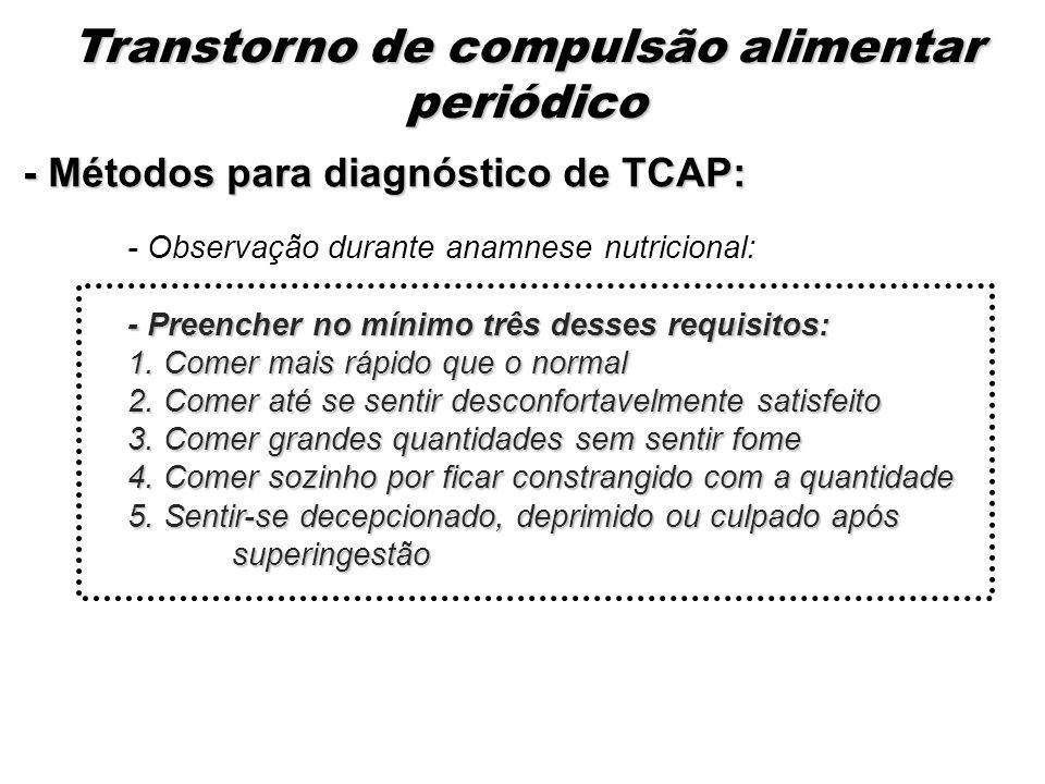 - Métodos para diagnóstico de TCAP: - Observação durante anamnese nutricional: - Preencher no mínimo três desses requisitos: 1. Comer mais rápido que
