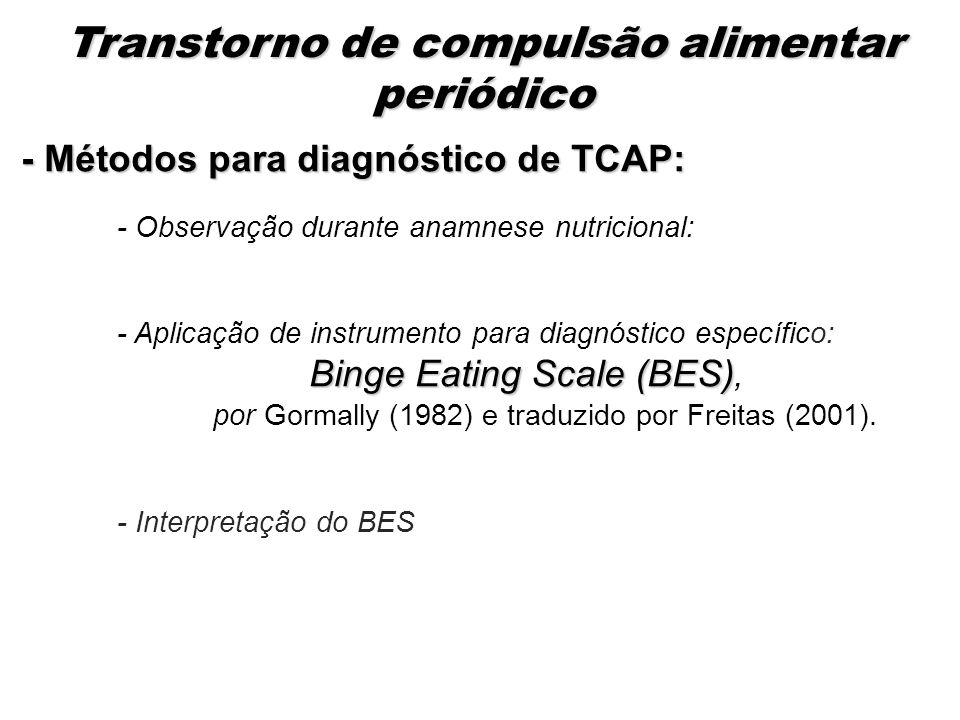 - Métodos para diagnóstico de TCAP: - Observação durante anamnese nutricional: - Aplicação de instrumento para diagnóstico específico: Binge Eating Sc