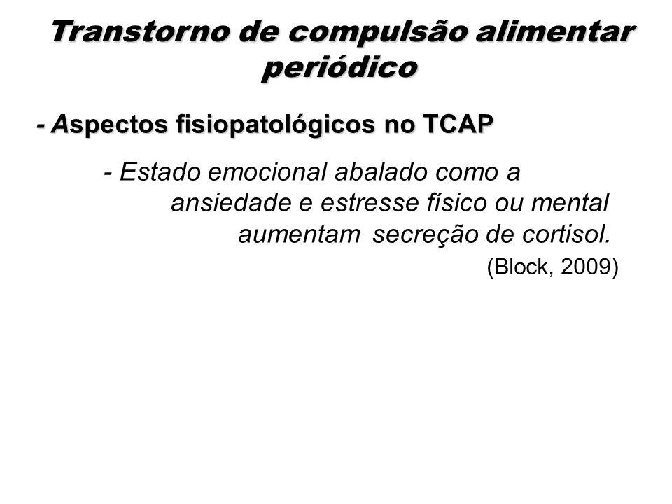 - Aspectos fisiopatológicos no TCAP - Estado emocional abalado como a ansiedade e estresse físico ou mental aumentamsecreção de cortisol. (Block, 2009