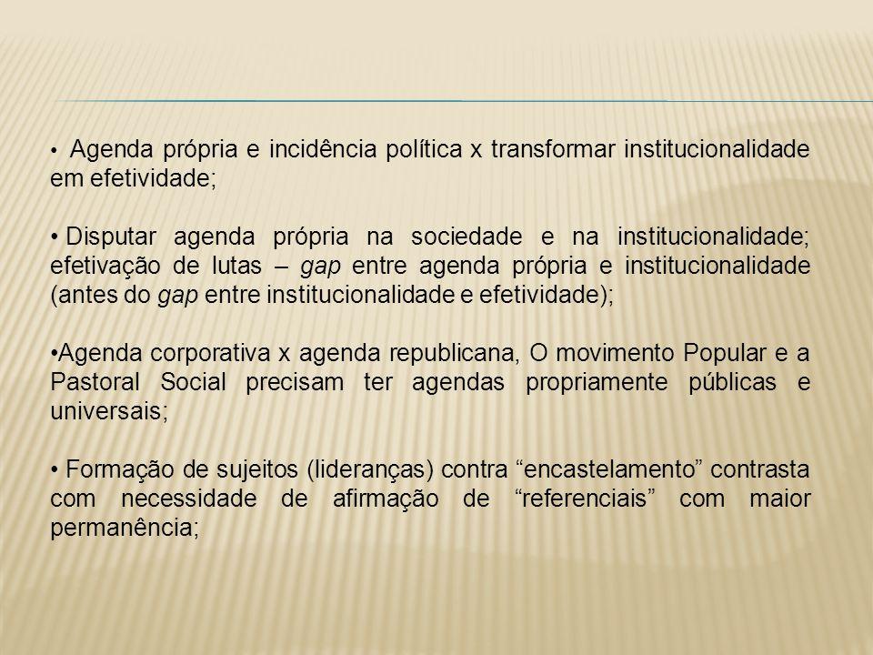 Agenda própria e incidência política x transformar institucionalidade em efetividade; Disputar agenda própria na sociedade e na institucionalidade; ef