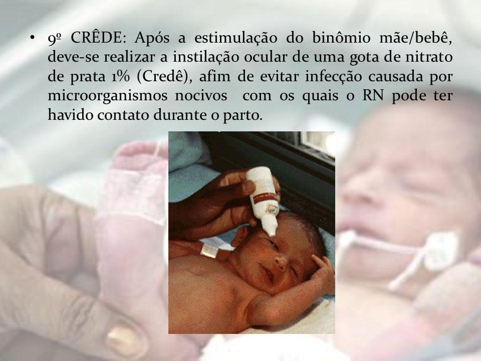9º CRÊDE: Após a estimulação do binômio mãe/bebê, deve-se realizar a instilação ocular de uma gota de nitrato de prata 1% (Credê), afim de evitar infe