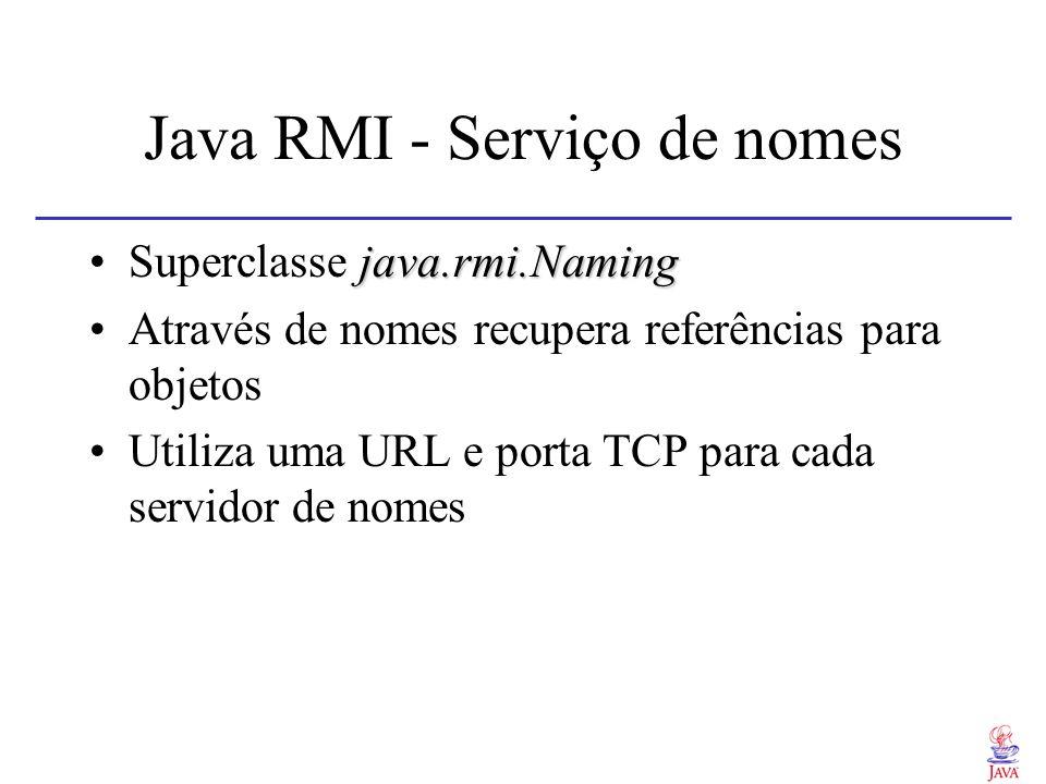 Java RMI - Serviço de nomes java.rmi.NamingSuperclasse java.rmi.Naming Através de nomes recupera referências para objetos Utiliza uma URL e porta TCP