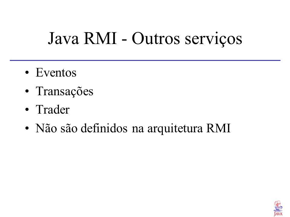 Java RMI - Outros serviços Eventos Transações Trader Não são definidos na arquitetura RMI
