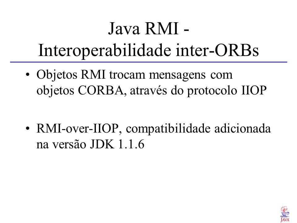 Java RMI - Interoperabilidade inter-ORBs Objetos RMI trocam mensagens com objetos CORBA, através do protocolo IIOP RMI-over-IIOP, compatibilidade adic