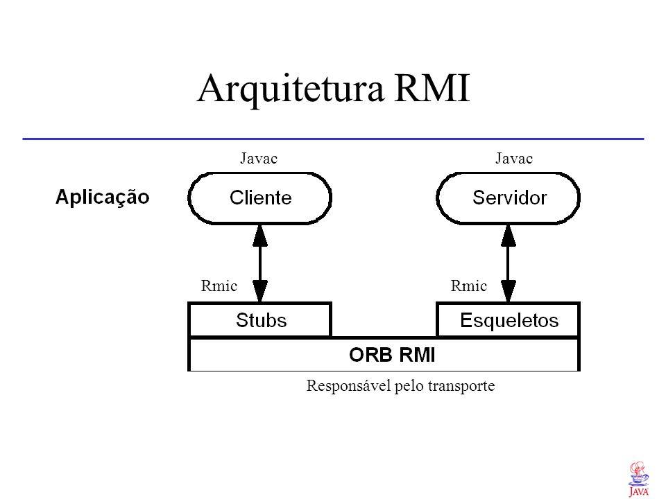 Java RMI - Modelo de objetos Clientes: superclasse java.rmi.RemoteObject Servidores: superclasse java.rmi.RemoteServer Interfaces: superclasse java.rmi.Remote Exceções: superclasse java.rmi.RemoteException