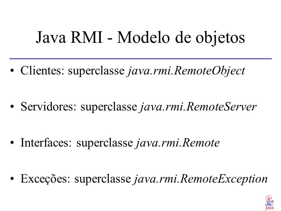 Java RMI Requisição e resposta de serviços Chamada síncrona Chamadas assíncronas e deferidas não são suportadasChamadas assíncronas e deferidas não são suportadas