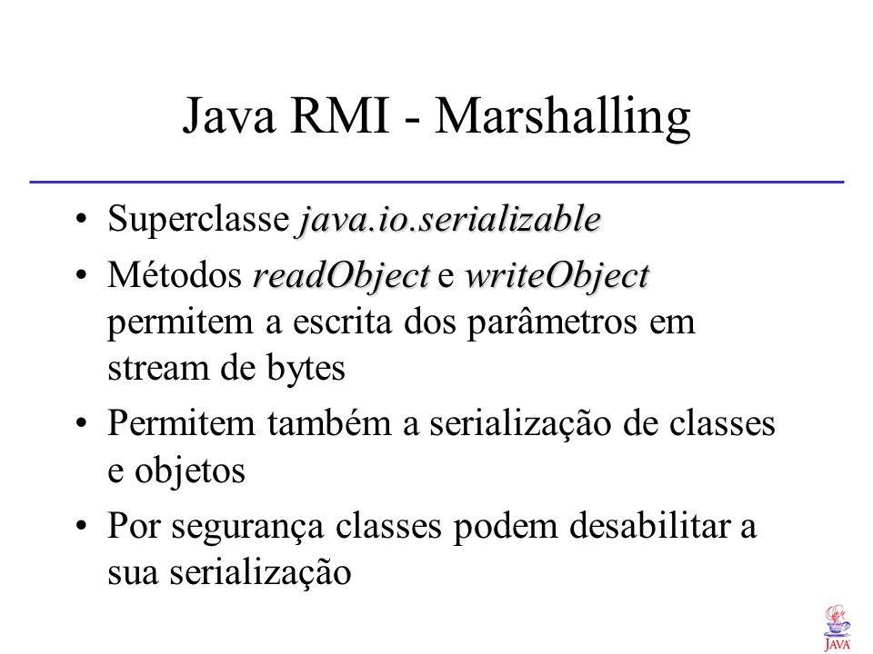 Java RMI - IDL Não define IDL Interfaces são definidas em Java rmicCompiladas com o compilador rmic, gerando o stub e esqueleto interpretados javaUtiliza-se o runtime java para executar os proxies